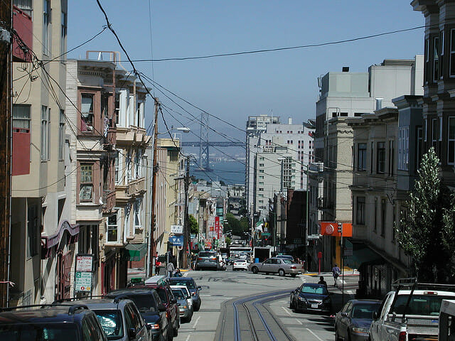 A San Francisco neighborhood with the Oakland Bay Bridge in the center. San Francisco has outpaced New York City in its protection of tenants since it adopted rent control in 1979.
