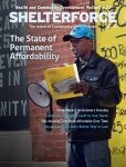 The front cover of the Spring 2018 edition of Shelterforce magazine. It shows an African-American man speaking through a bullhorn. The theme is