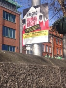 """In Dublin, Ireland, a sign that reads """"Housing is a Human Right."""" A report blasted the U.S. for not maintaining that not having enough housing violates human rights."""