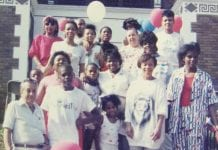 Members of a limited-equity housing cooperative in D.C. gather on the front steps in the late 1980s/early 1990s.