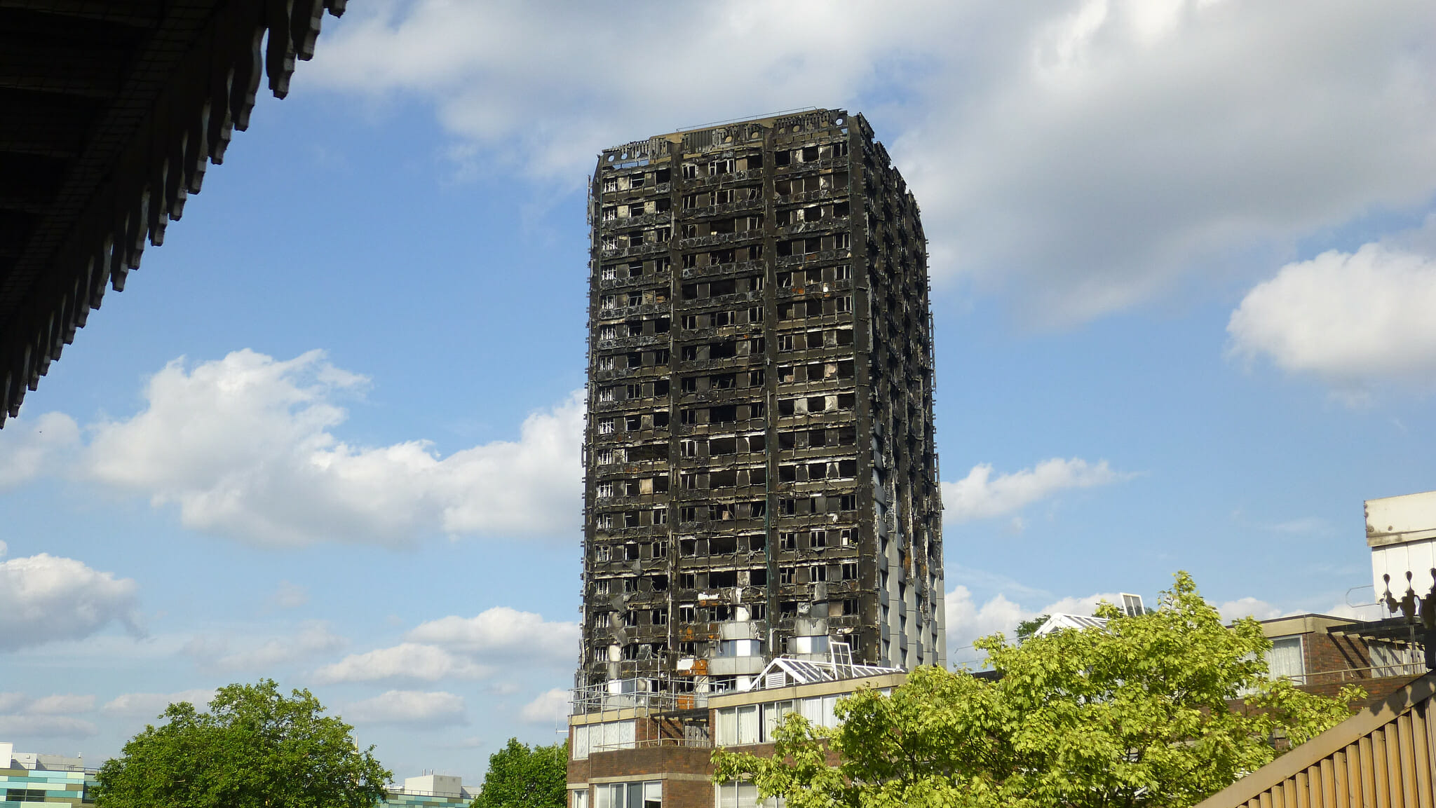Grenfell Tower after the tragic fire. Photo by flickr user PaulSHird, CC BY-SA 2.0