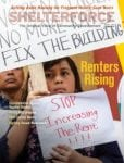 Shelterforce cover for issue 191 focusing on renters rising. Articles focus on rent regulations, discrimination against voucher holders, rent control, and more.