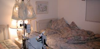 A hemodialysis machine in a bedroom.