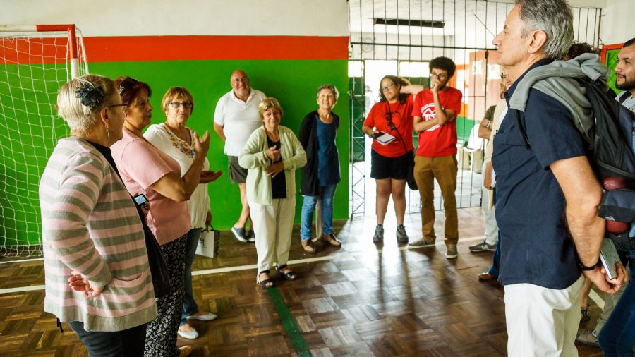 There are many different housing models. This is one in Uruguay, where Mesa 5 cooperative members explain how the housing complex's services and maintenance work.