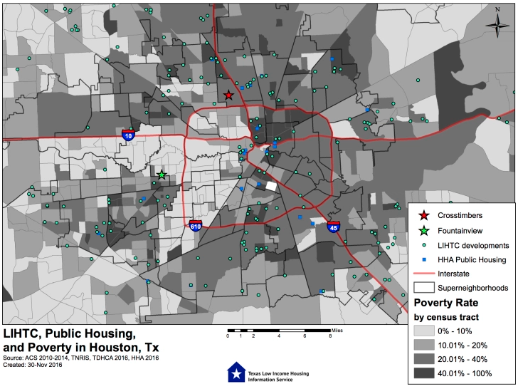 A map that shows public housing and poverty levels in Houston, Texas.