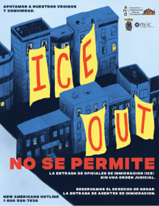 In Spanish, the poster's design tells an important story of a city that stands by immigrant communities.