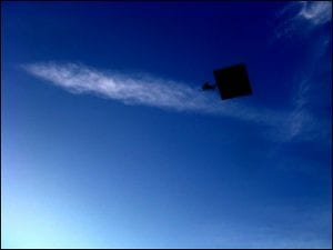 A graduation cap flying in the air.