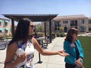 Two women visit the Arrowhead Grove site in San Bernardino.