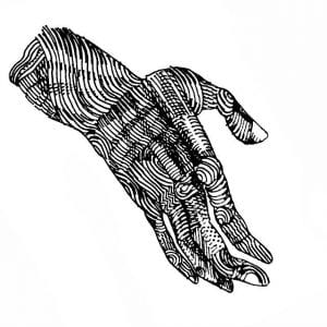 line drawing of a hand