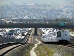 A Daly City-bound BART train west of Dublin/Pleasanton station.