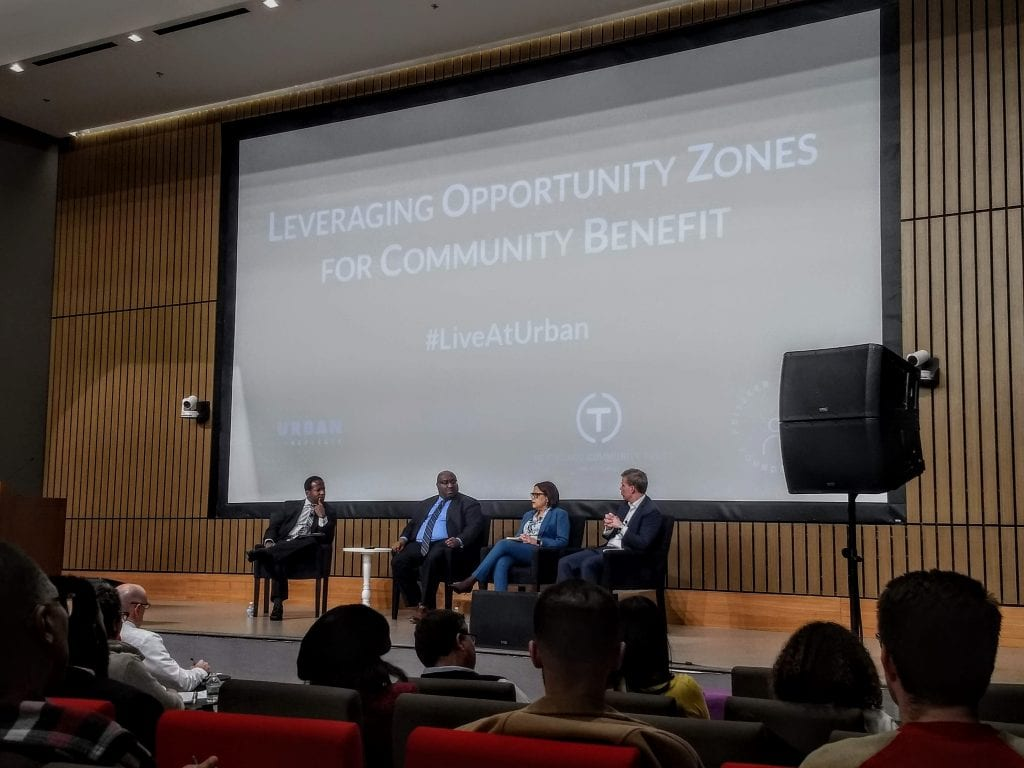 A panel discussion about Opportunity Zones, or O Zones, in Chicago.