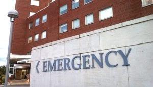 An emergency entrance of a hospital.