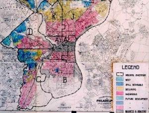 1937 map of Philadelphia showing redlining
