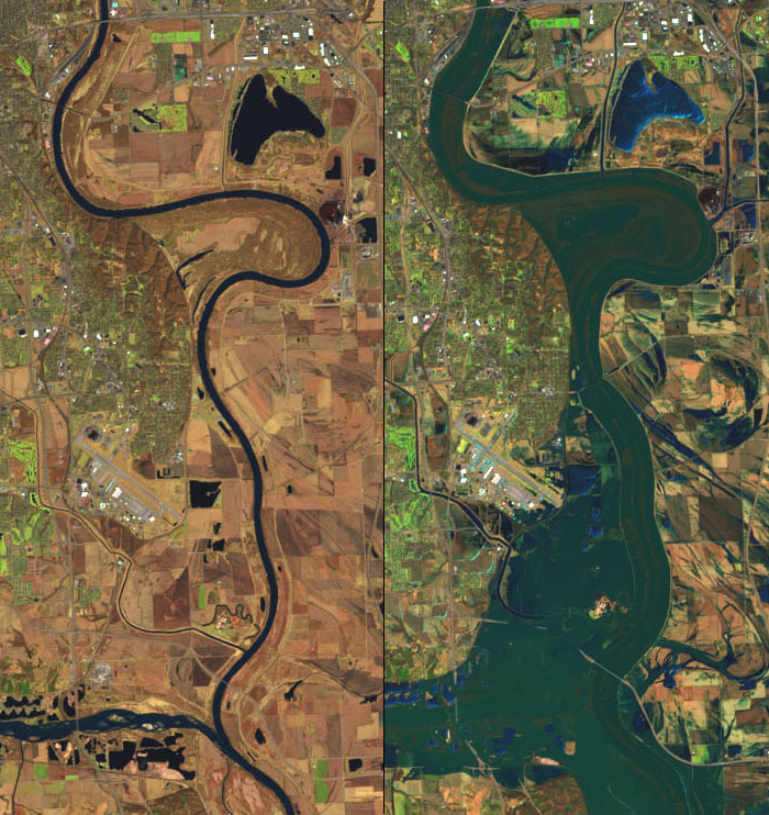 A false-color image that underscores the extent of the flooding on the Platte, Missouri, and Elkhorn rivers. For comparison, the image on the left shows the same area in March 2018.