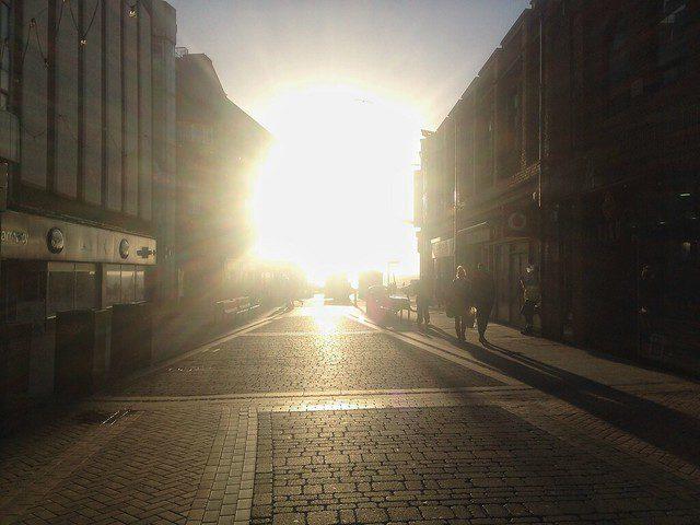 bright sunlight on city street