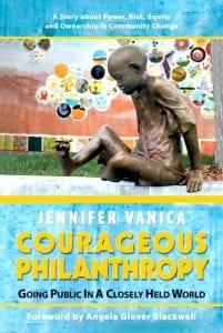 """The cover of """"Courageous Philanthropy: Going Public in a Closely Held World,"""" a story about a community that was allowed to issue an IPO and reap benefits."""