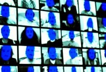 blue faces on screen