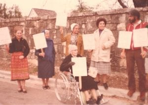 Guadalupe neighborhood residents protest urban renewal project, 1979.