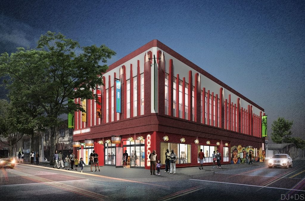 A rendering of the Restore Oakland building, which will be a 12,000-square-foot community advocacy and training center.