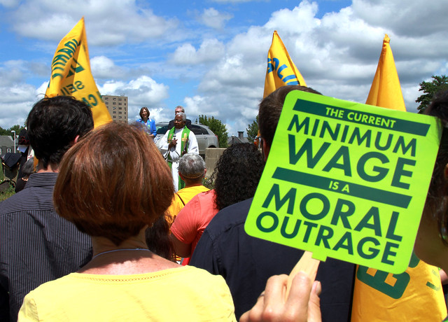 minimum wage protest sign