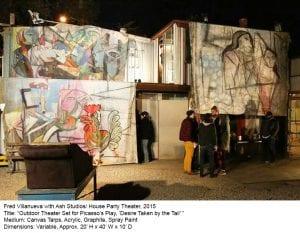 outdoor oversized canvas art display