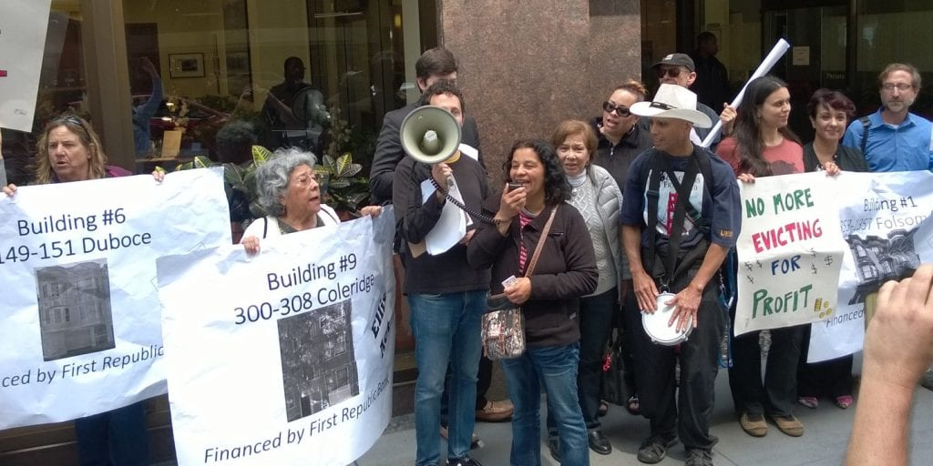 displacement protest outside of First Republic Bank