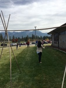 Native women play a game called Double Ball.