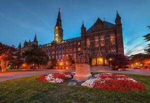 A nightime photo of Georgetown University.