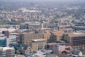 An aerial shot of St. Joseph's Hospital in Paterson, New Jersey.