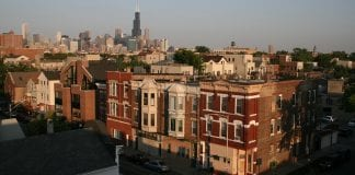 View of a Chicago neighborhood and the city skyline