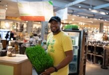 Food worker at the Malamiah Juice Bar in Grand Rapids, Michigan. Food equity