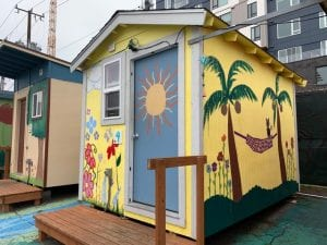 tiny house in Seattle painted in vibrant colors