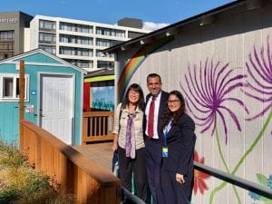 Tiny house village in Seattle, Wash., visited by San Jose mayor Sam Liccardo