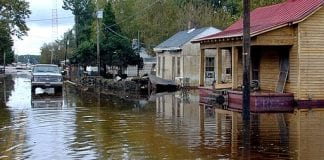 A flooded street in Princeville, North Carolina.