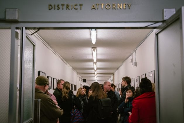 The public opening celebration of the Visions of Justice Exhibition in 2019 at the San Francisco Hall of Justice.
