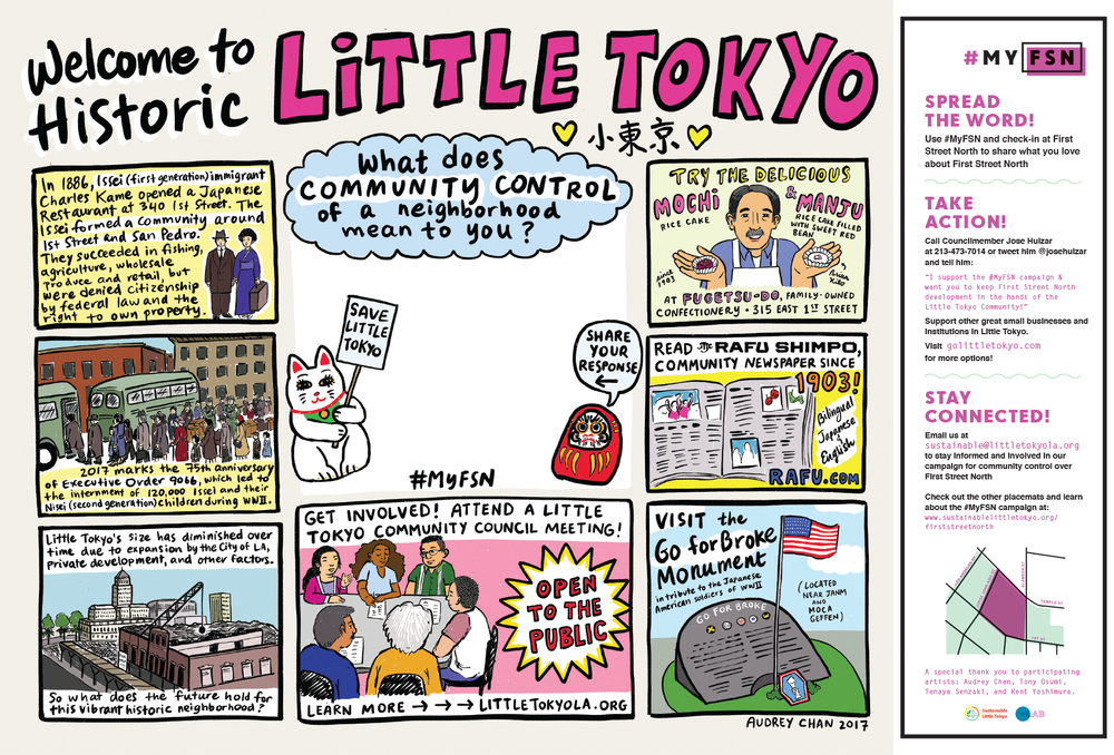A placemat that shows the history of Little Tokyo in Los Angeles.