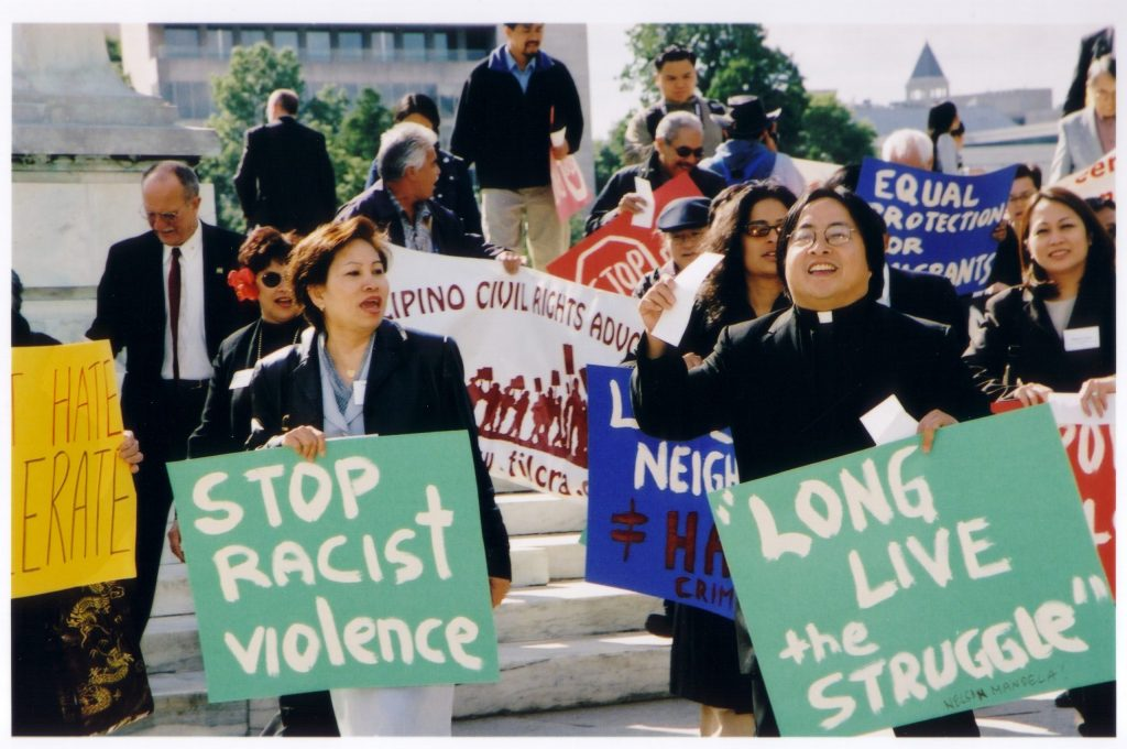 A protest against violence targeting Asian Americans; anti-Asian-American harassment