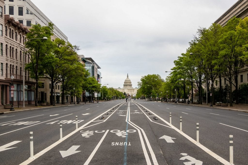 Empty streets in Washington, D.C., due to the COVID-19 pandemic. You can see the Capital building int the center. Renters are asking for rent relief as it's been difficult to stay afloat during the pandemic.