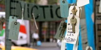 """evictions: image of house keys and a tag that says """"evicted"""""""