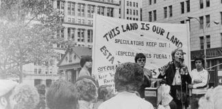 Frances Goldin speaks at a rally
