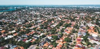 Aerial view of suburb