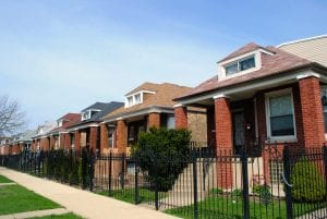 Image of a row of bungalow homes in Chicago