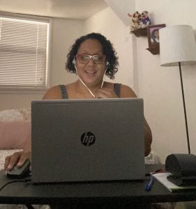 Cindy Adame, a Financial and Small Business Coach at the East LA Community Corporation, works from home. Photo courtesy of the East LA Community Corporation