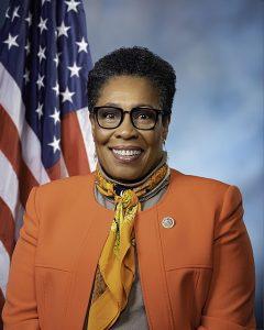 Image is official portrait of Rep. Marcia Fudge, Joe Biden's pick for HUD secretary