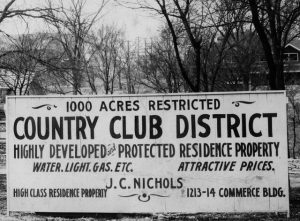 """Exclusionary zoning: image shows sign advertising """"Country Club District"""""""
