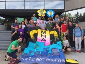 """community development. Image shows people posing with a large banner than reads """"MHA: People not Profits"""""""