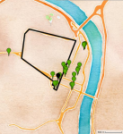 A map displaying the boundary of a neighborhood, with several green markers within the boundary and many other green markers outside of it.