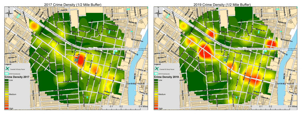 Heat maps measuring crime in a Binghampton, NY neighborhood before and after building rehabilitations were done. The first map in 2017 shows a large, green area, with a cyan X denoting the site of rehab. Around that site was a bright red spot, denoting a high level of crime. The second map shows that crime has decreased around the site where rehab was done but increased in other areas.
