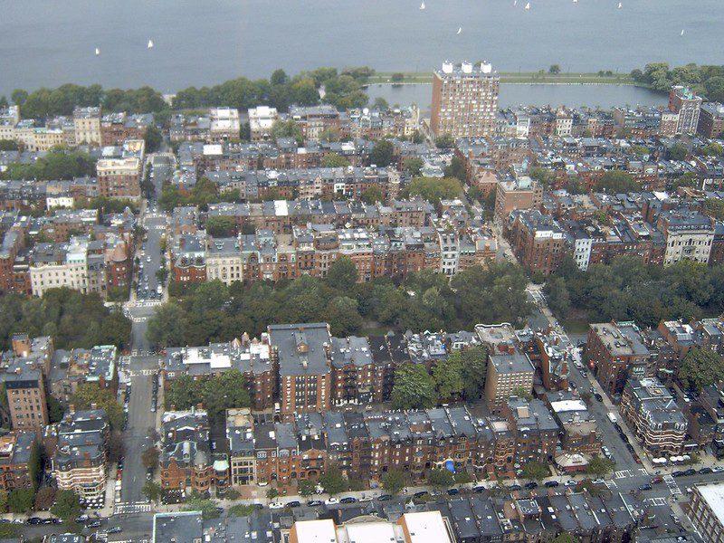 fair housing: photo shows aerial view of a Boston residential area