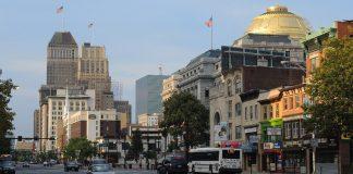 A city scene in Newark New Jersey.